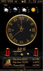 Big Analog Clock Gold Red - 1.00